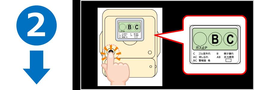 ●左側のボタンを押してください。●「ガス止」の文字が消えます。